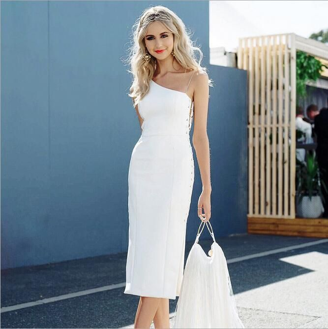 One Shoulder Knee Length White Dress