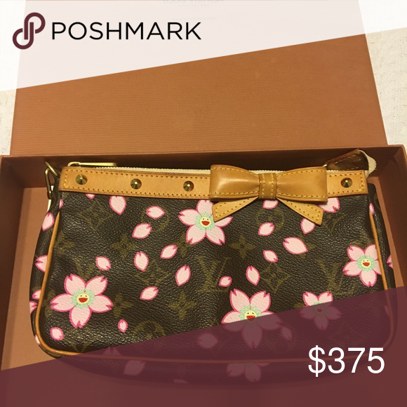 1f29f8f4f7d9 Louis Vuitton Cherry Blossom Pochette Accessoires Brown and tan monogram  coated canvas Louis Vuitton Cherry Blossom