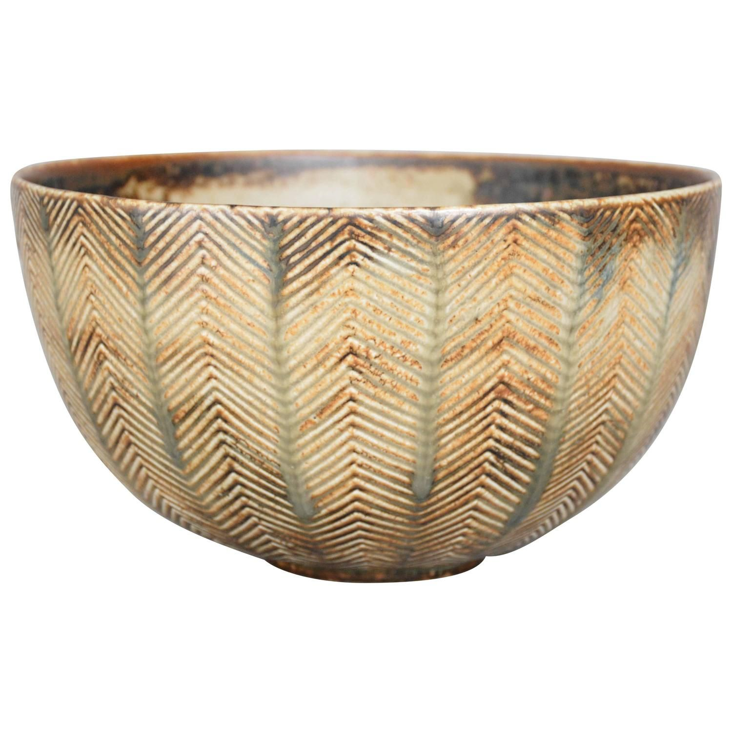 Axel Salto Stoneware Bowl for Royal Copenhagen, Denmark   From a unique collection of antique and modern ceramics at…