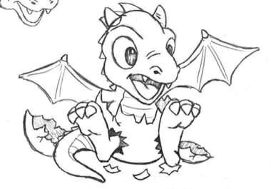 draakje uit ei draken tekeningen draakje kleurplaten