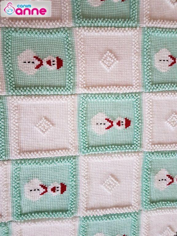 Kardan adam motifli bebek battaniyesi yapımı | Decken, Stoffe und Wolle