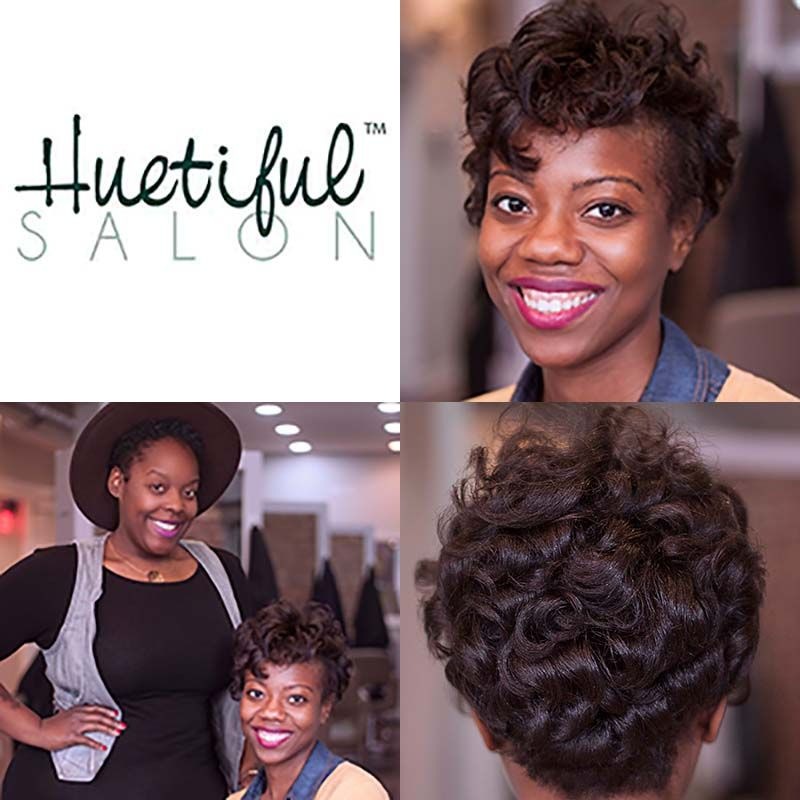 Client And Stylist At Huetiful Salon Chicago Salon Blowout Natural Hair Styles Hair Steaming