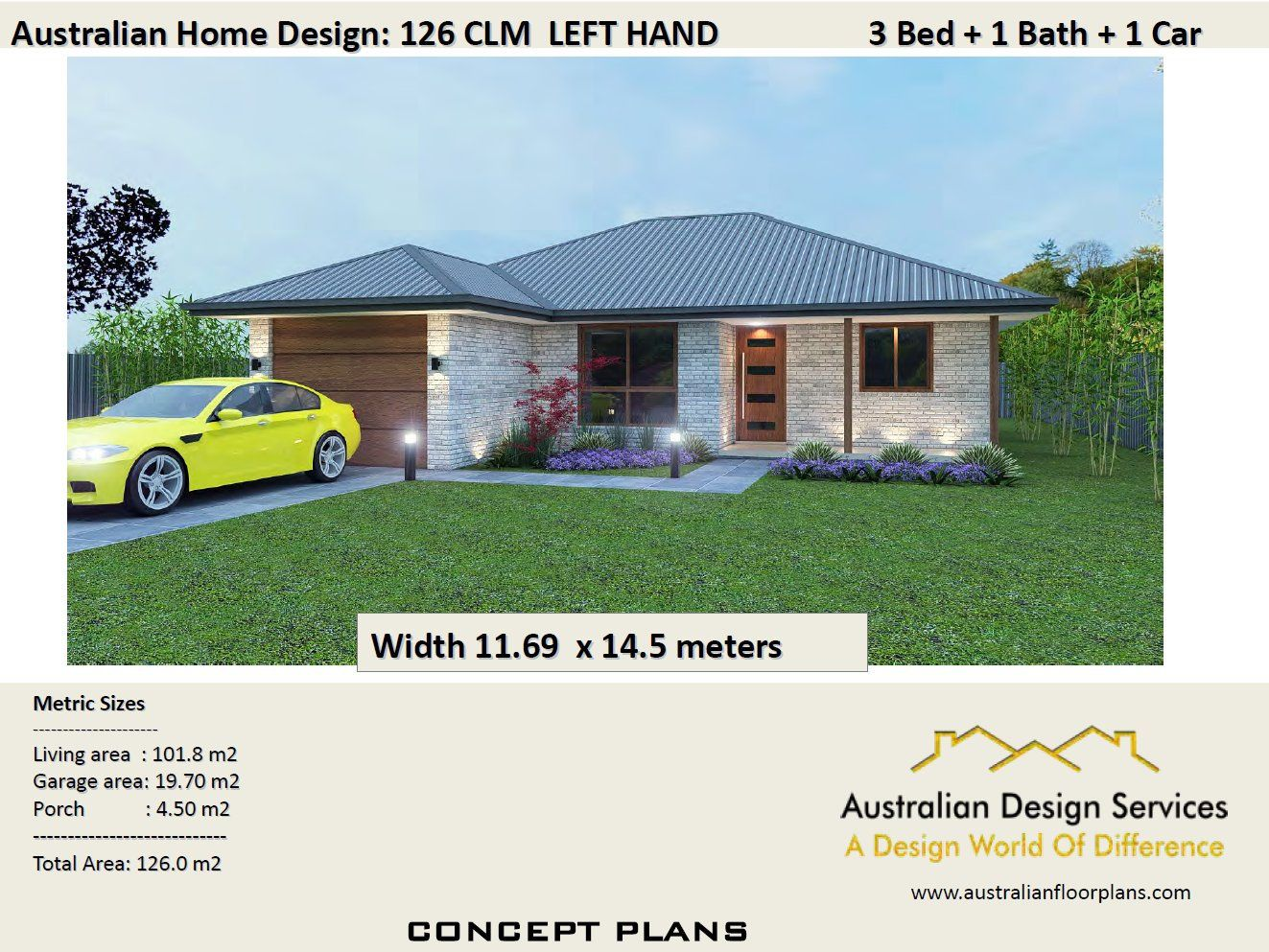 3 bed house plans + single garage For Sale | 126 m2 | 3 ...