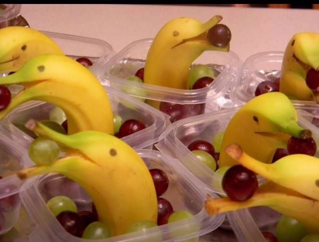 Banana & Grape Dolphins - no need for instructions - this is a cute, easy-to-do healthy snack.
