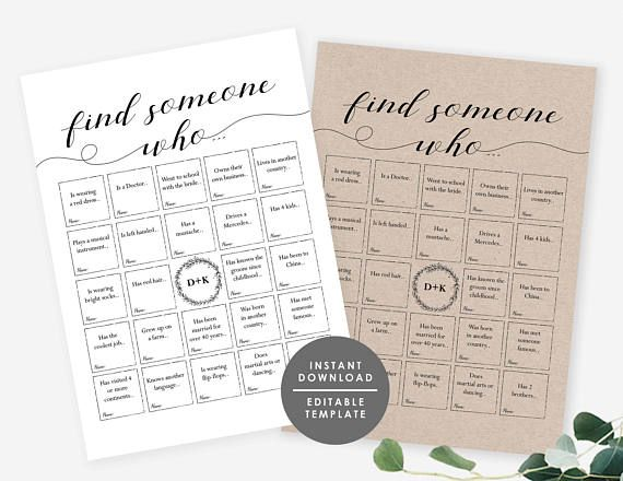 Wedding Reception Game, Wedding Bingo, Find Someone Who