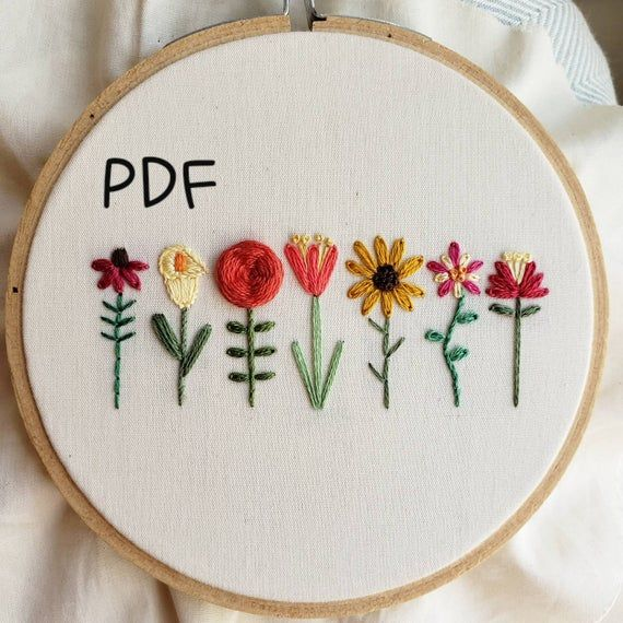 Flower Embroidery Pattern, Coneflower, Calla Lily, Rose, Tulip, Sunflower, Columbine, Lily, Embroidery Tutorial, DIY Instant Download PDF