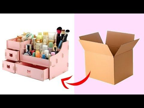DIY Organizer| DIY Makeup Storage and Organization From Cardboard -   18 diy Box makeup ideas