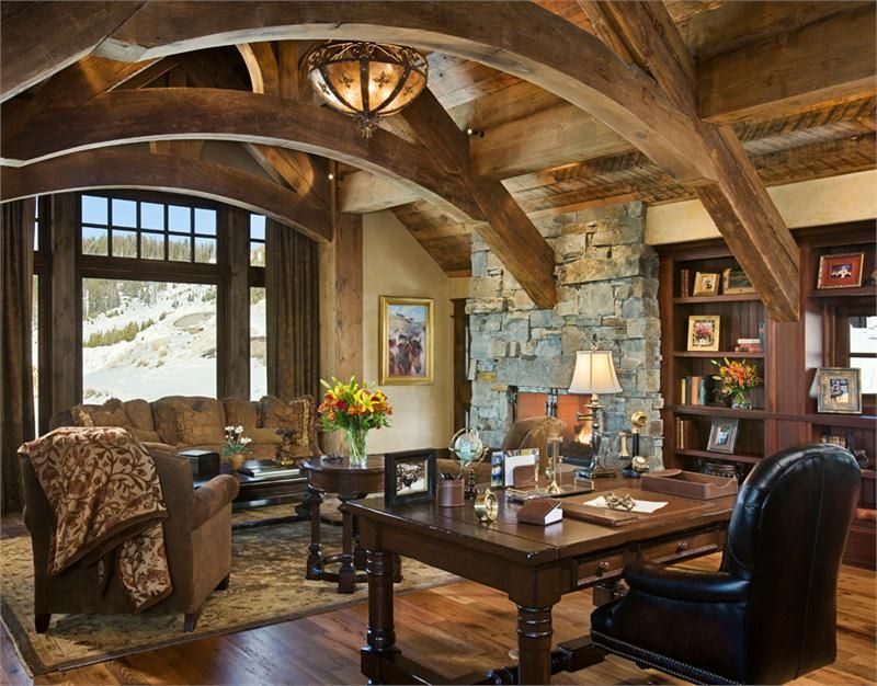 Love the arches and stone open country rustic home office for Moose decorations home
