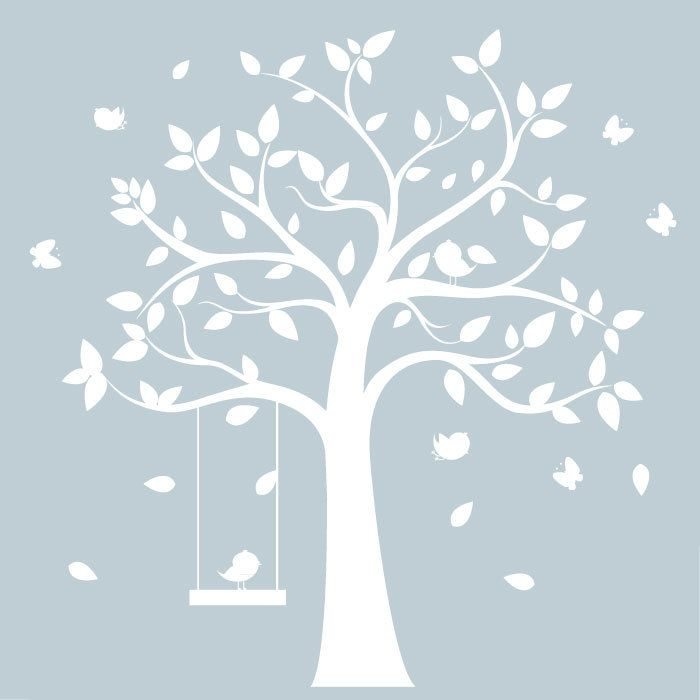 Childrens Wall Decal   White Tree With Birds U0026 Butterflies  Nursery Wall  Art. $125.00 Part 43