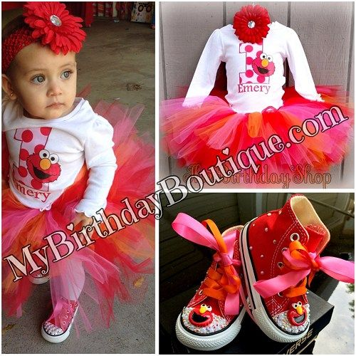 bd7e44cc3 Elmo first birthday Outfit This set includes a custom shirt with your  child's name and age and a red, pink and orange tutu. Everything can be  customized to ...