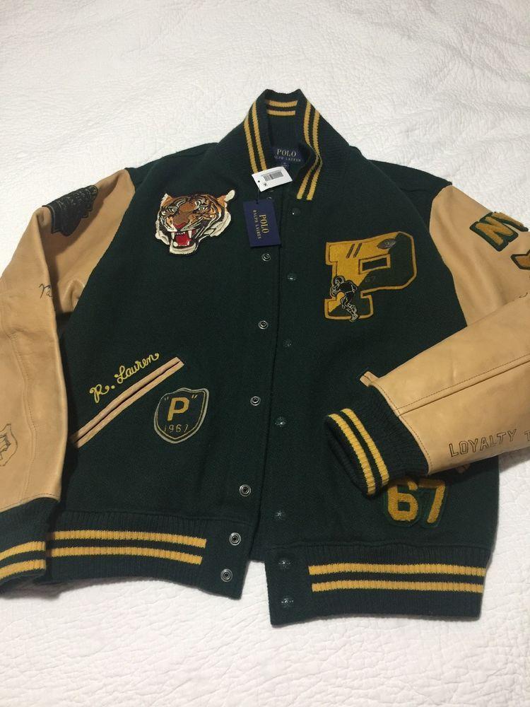 Nwt Polo Ralph Lauren Varsity Letterman Leather Football Tiger Rrl Ny Jacket Xl 789023306664 Eba Vintage Clothing Men Varsity Jacket Men Mens Outdoor Jackets