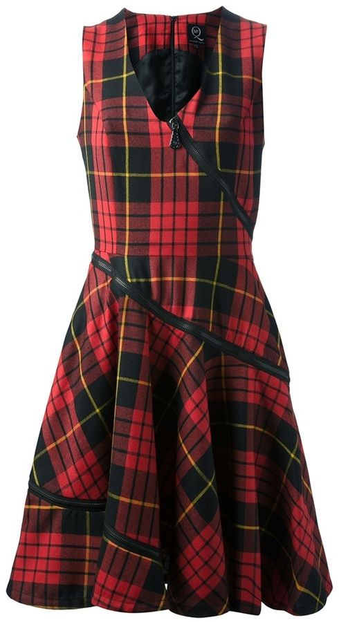 McQ By Alexander McQueen tartan zip detail dress