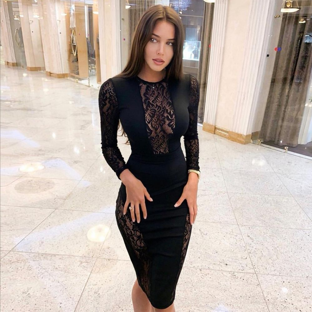 347cf918fb Seamyla 2019 New Black Lace Bandage Dress Women Elegant Vestidos ...