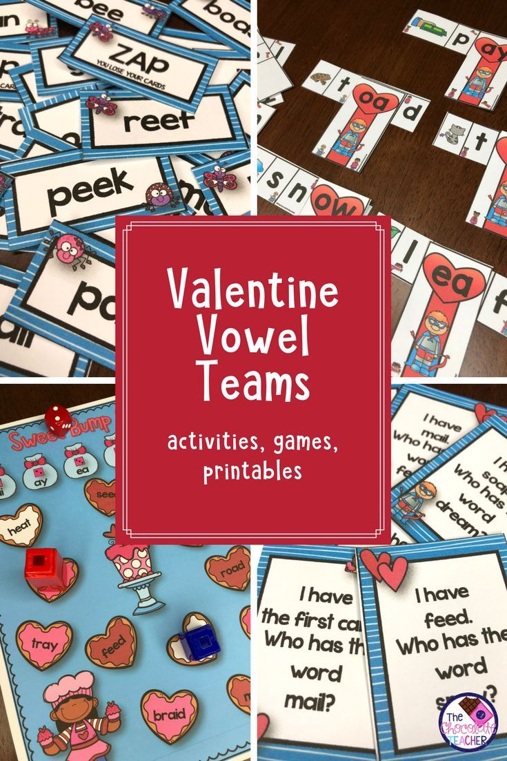 Valentine's Day Activities With Vowel Teams AI, AY, EA, EE, OA, OW ...