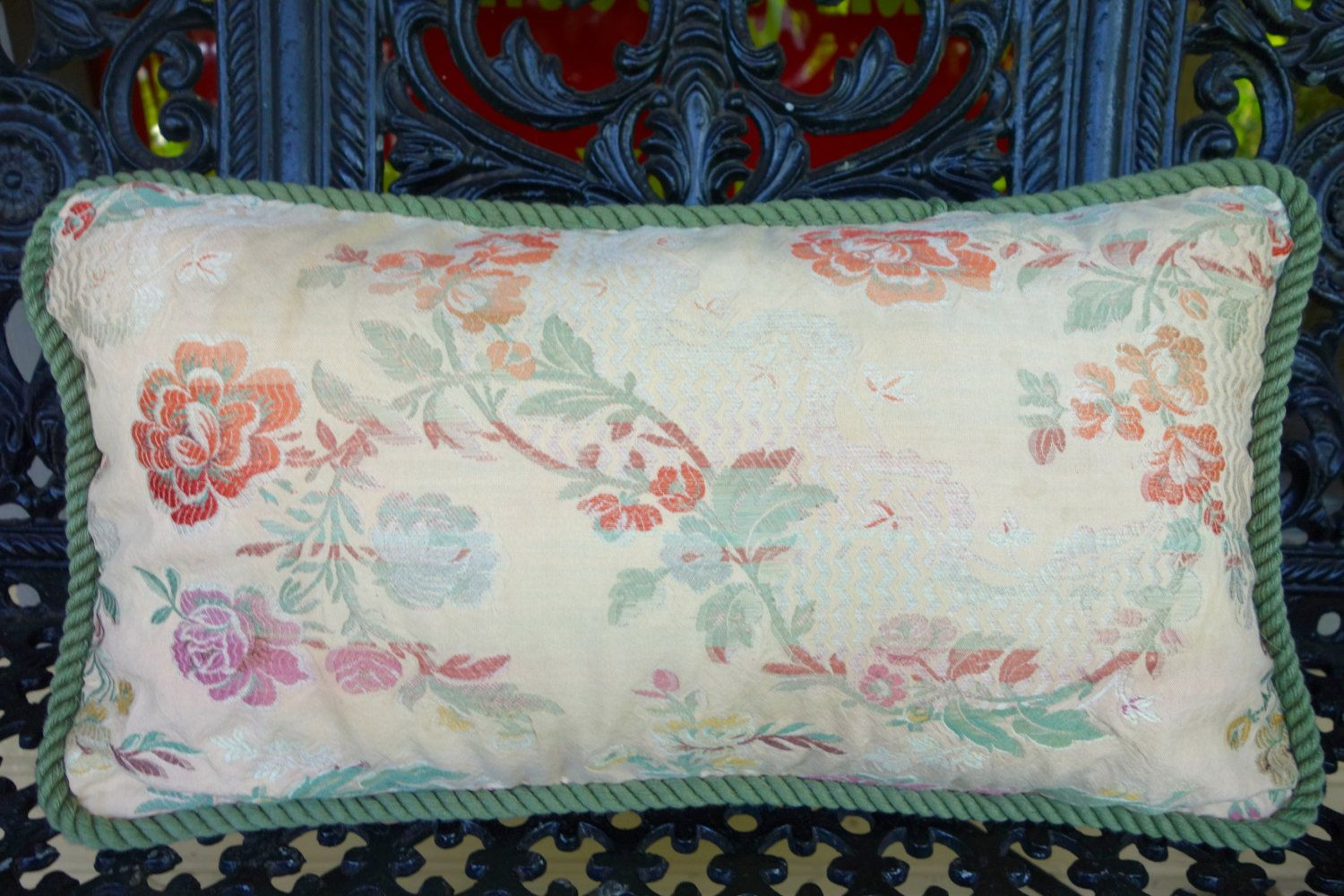 Antique Floral Damask Pillow in Shades of Peach, Plum and Green, Bedroom Decor, Living Room Decor, Handmade Rectangular Pillow, Gift Idea - pinned by pin4etsy.com