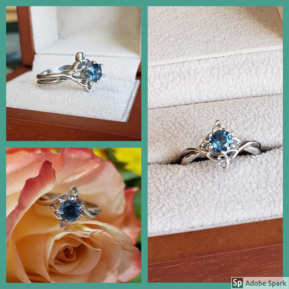 Amazing teal blue Montana Sapphire set in our interlocking