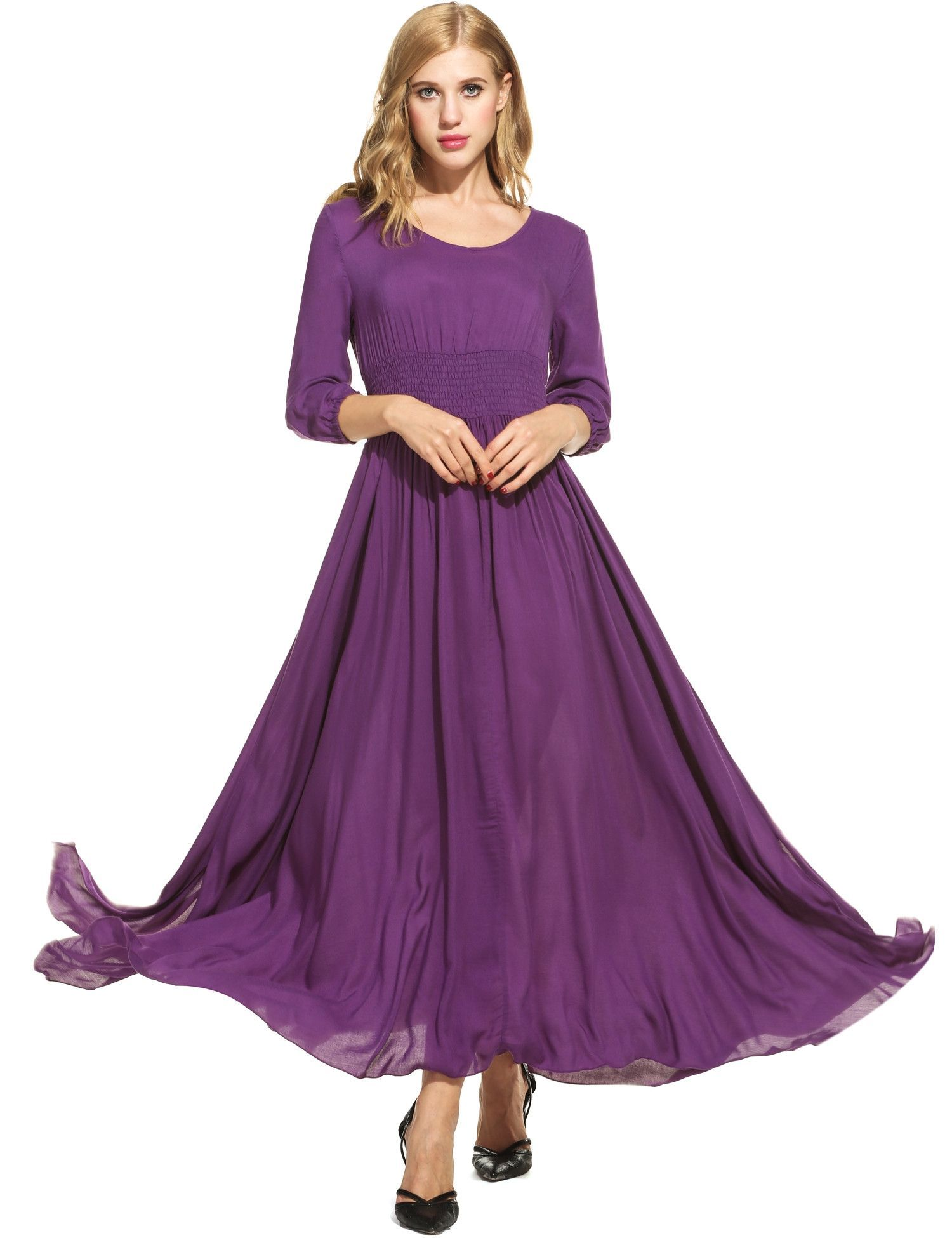 Women casual sleeve solid v neck pullover maxi dress pullover