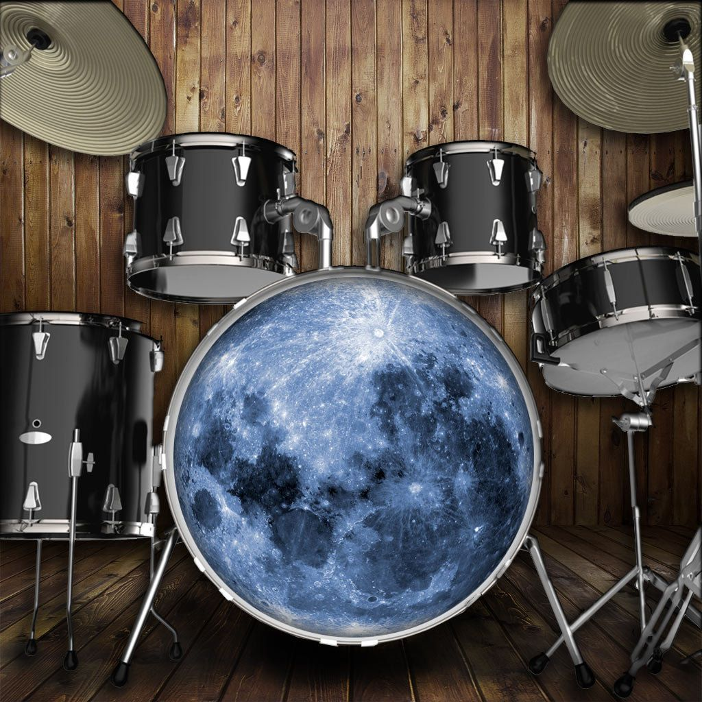 moon drum skin for bass snare and tom drums for customizing drum heads and drum kits drums. Black Bedroom Furniture Sets. Home Design Ideas