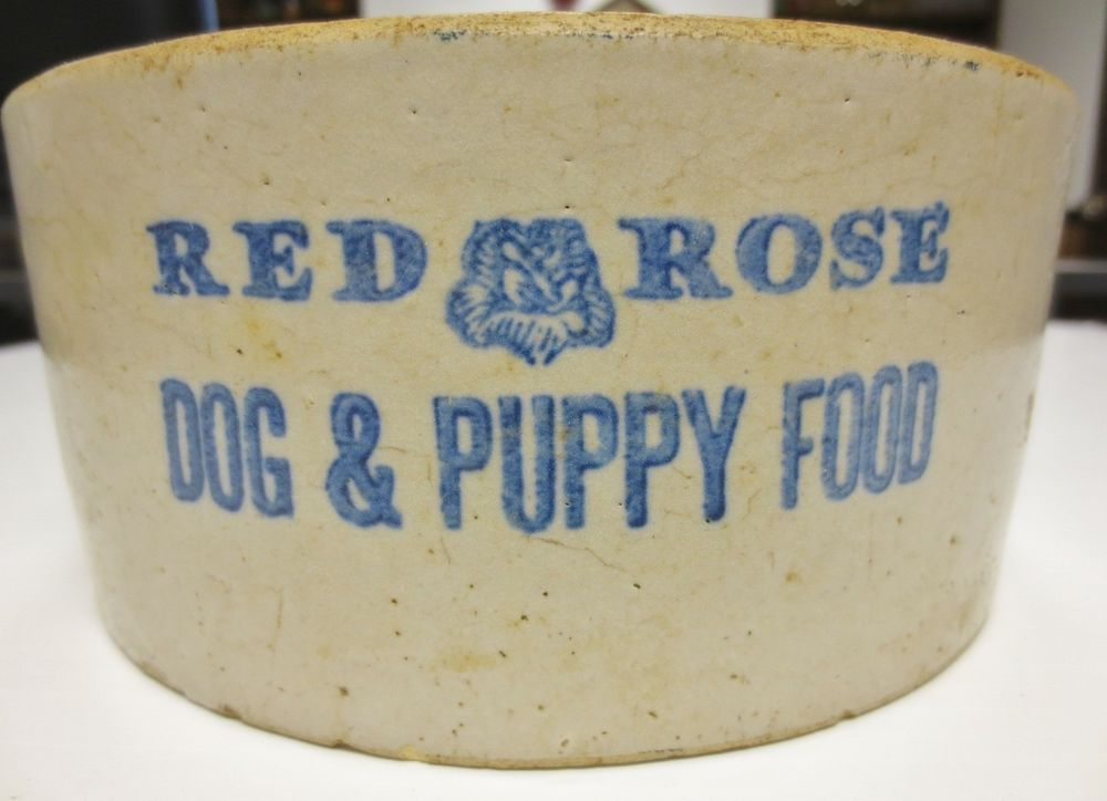 Vintage Heavy Dog Food Bowl Dish Collector Piece Red Rose Dog