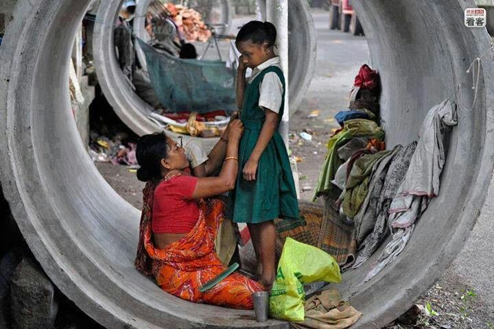 They live in a drain pipe but still gets her daughter ready for school each day. Very humbling.
