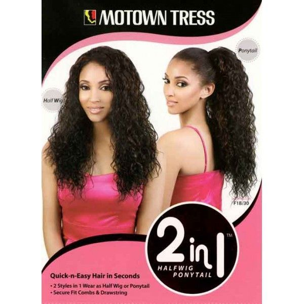Motown Tress 2 In 1 Half Ponytail Wig Tio 213 Ponytail Wig Front Lace Wigs Human Hair Half Ponytail