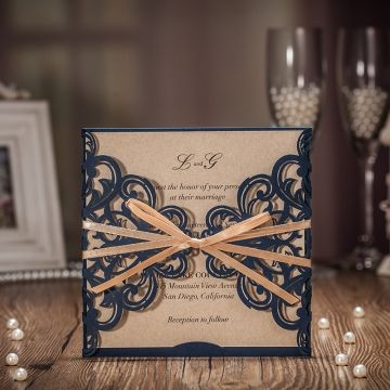 Elegant Navy Blue Laser Cut Wedding Invitations With Ribbon WLC006