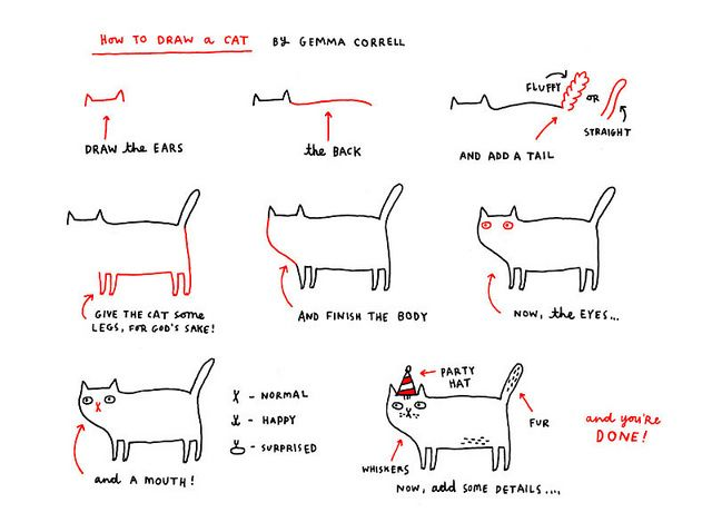 How to draw a cat, by Gemma Correll.
