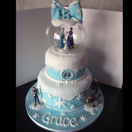 Disney frozen 5th birthday cake snow globe Emmas Birthday
