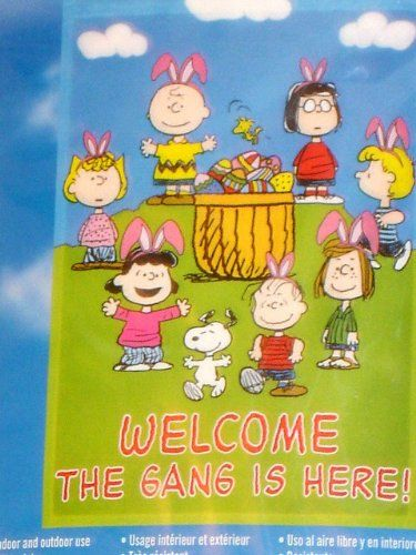 Peanuts Snoopy WELCOME   THE GANG IS HERE! EASTER GARDEN FLAG 12 X 18 @