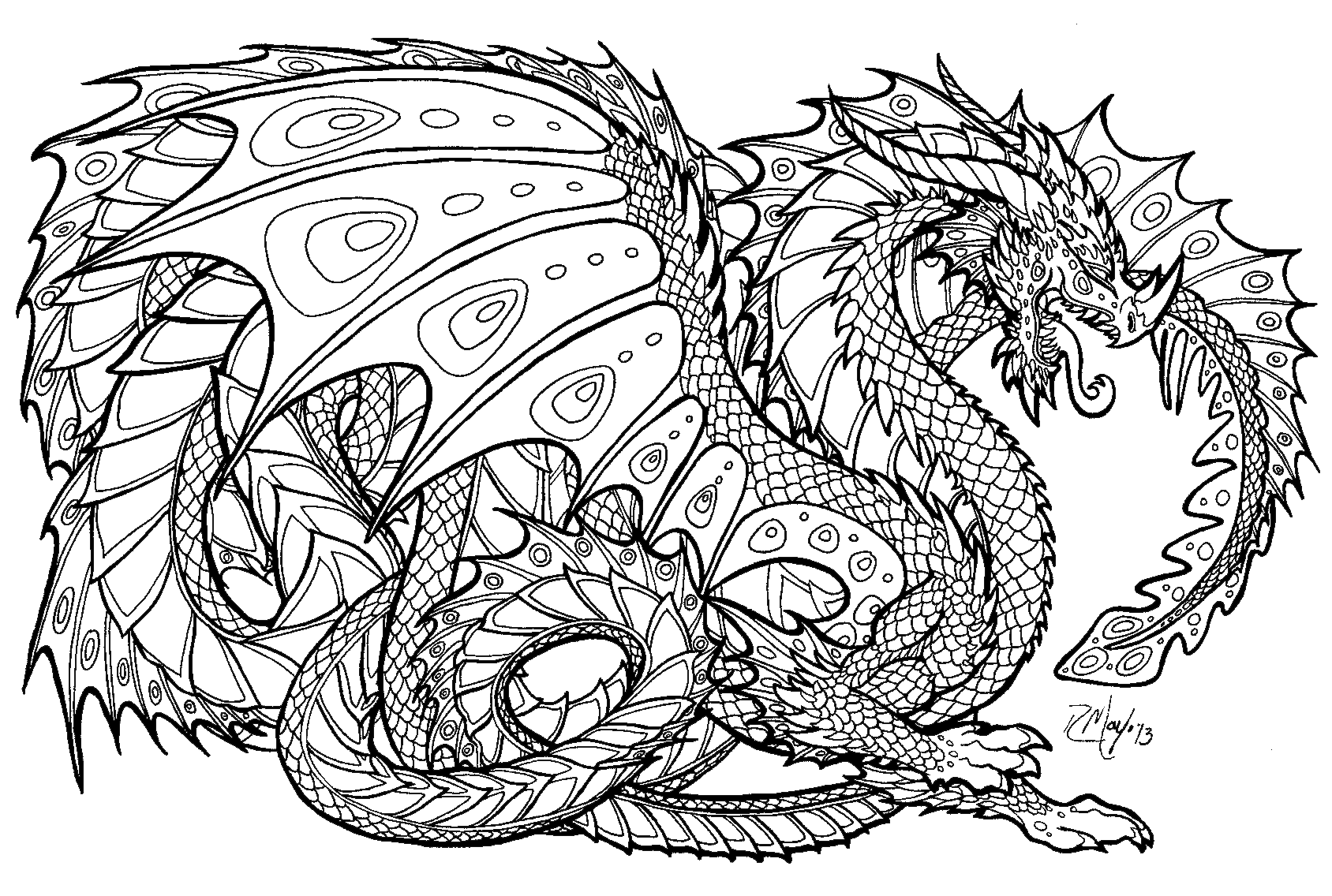 Realistic dragon coloring pages for adults only coloring pages