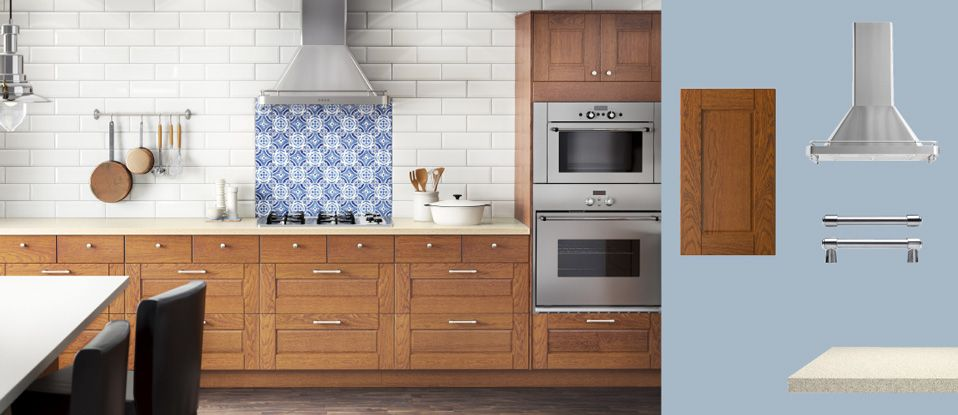 Wood white akurum kitchen with lixtorp brown doors for Akurum kitchen cabinets ikea