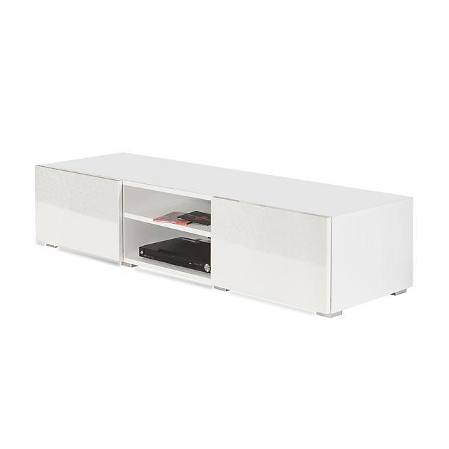 Mino Meuble TV blanc laqué 2 tiroirs 1 niche simple L140cm TVs and