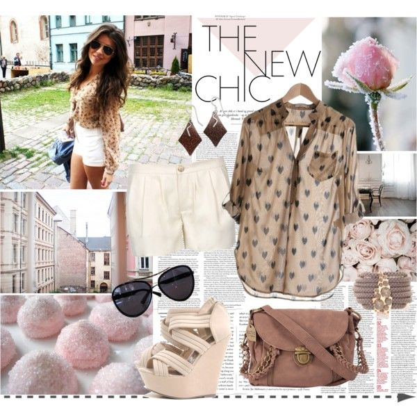 patterned blouse, white shorts, wedges by sasskia on Polyvore