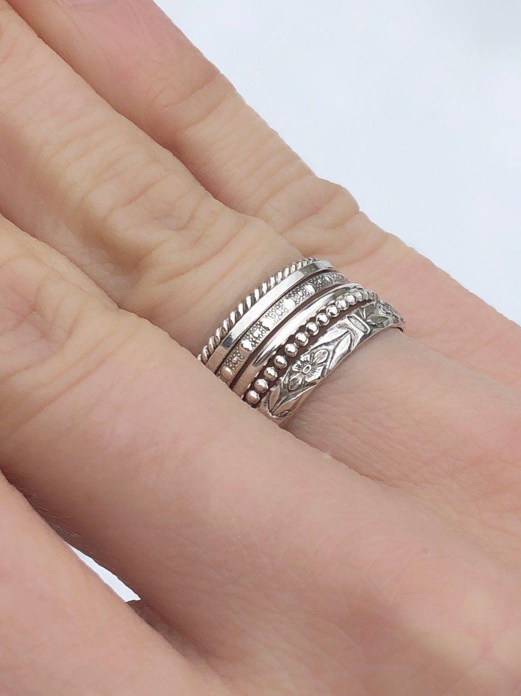 Set Of 6 Sterling Silver Stacking Rings Skinny Spacer Rings Etsy Sterling Silver Stacking Rings Thumb Rings Aquamarine Engagement Ring