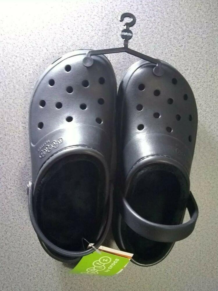 Crocs jibbitz presley black lined roomy fit clog shoes