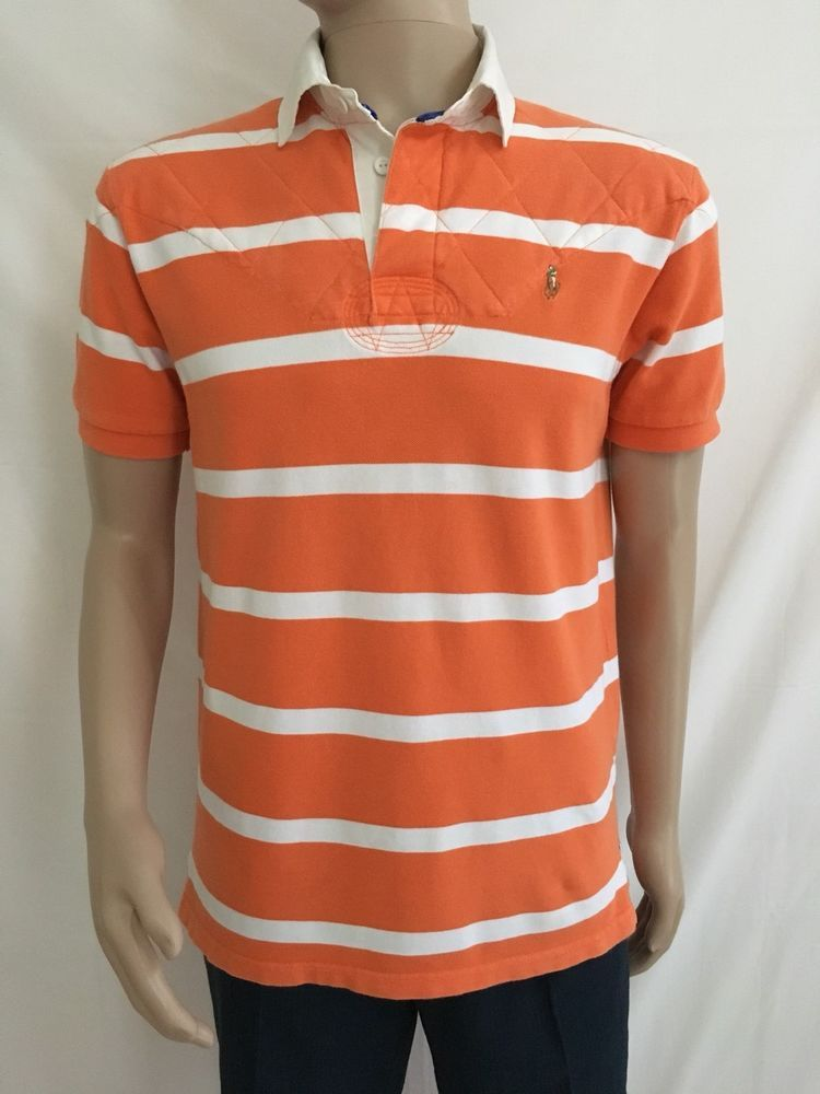 980dfd3bfab Polo Ralph Lauren Men's Short Sleeve Rugby Shirt Orange White Stripe Size M  #PoloRalphLauren #PoloRugby