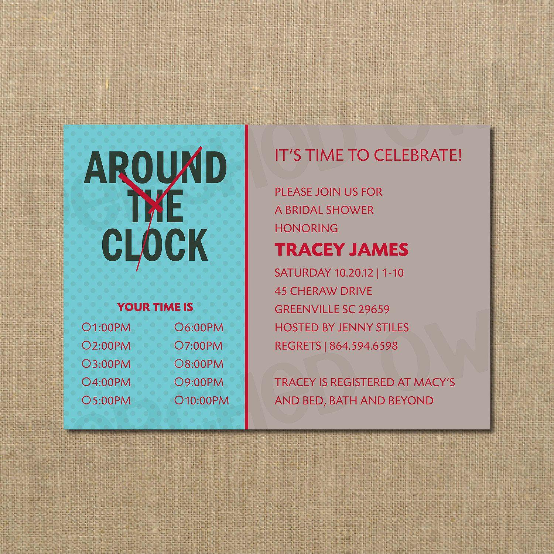 Around the Clock Shower Invitation - Wedding Shower - Bridal Shower ...