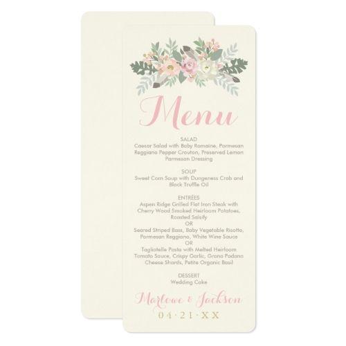 Boho Wedding Menu Dinner Card Spring Fls
