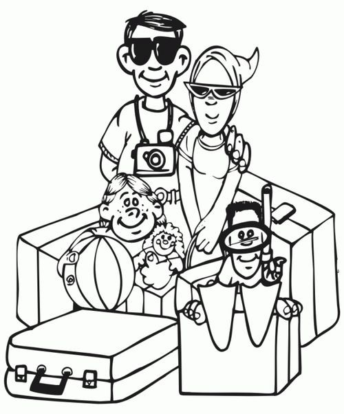 Free Printable Family Going On A Vacation Coloring Page For Kids
