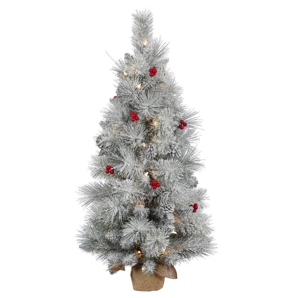"36"" Frosted Mixed Berry Pine Artificial Christmas Tree with 50 Clear Lights"