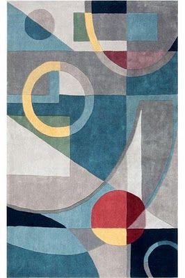 Art Deco Style Strong Block Colour Shapes Art Deco Rug Art