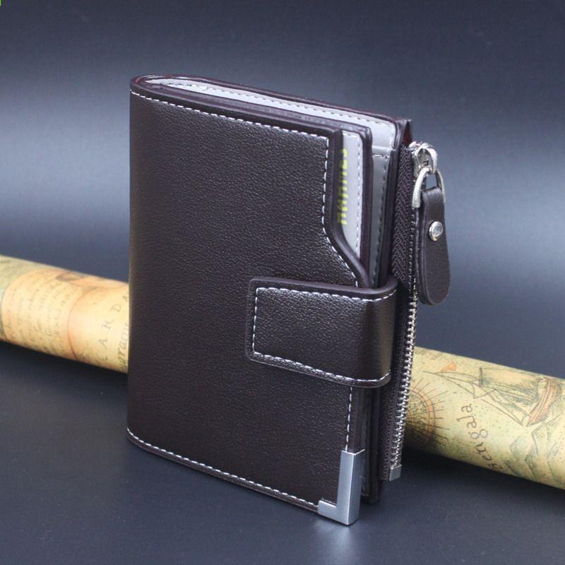 35482616caa63 Leder Männer Brieftaschen Männer Kupplung Leder Reißverschluss Tasche  Geldbörse Kartenhalter männlichen kurze Brieftasche Tropfenverschiffen