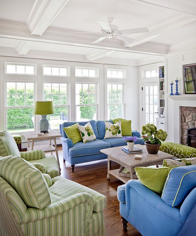 Inspiring White Paint Color, Wood Beam, Blue And