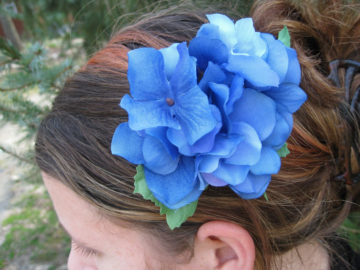 Blue hydrangea flower hair piece flower girl bride bridesmaid blue hydrangea flower hair piece flower girl bride bridesmaid wedding hair accessories special orders welcome izmirmasajfo Image collections