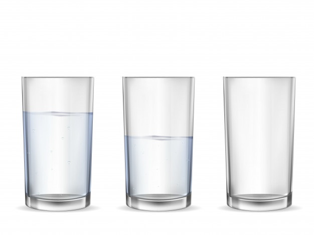 Realistic Empty Glass With Water Cup Set Cupping Set Glass Cup