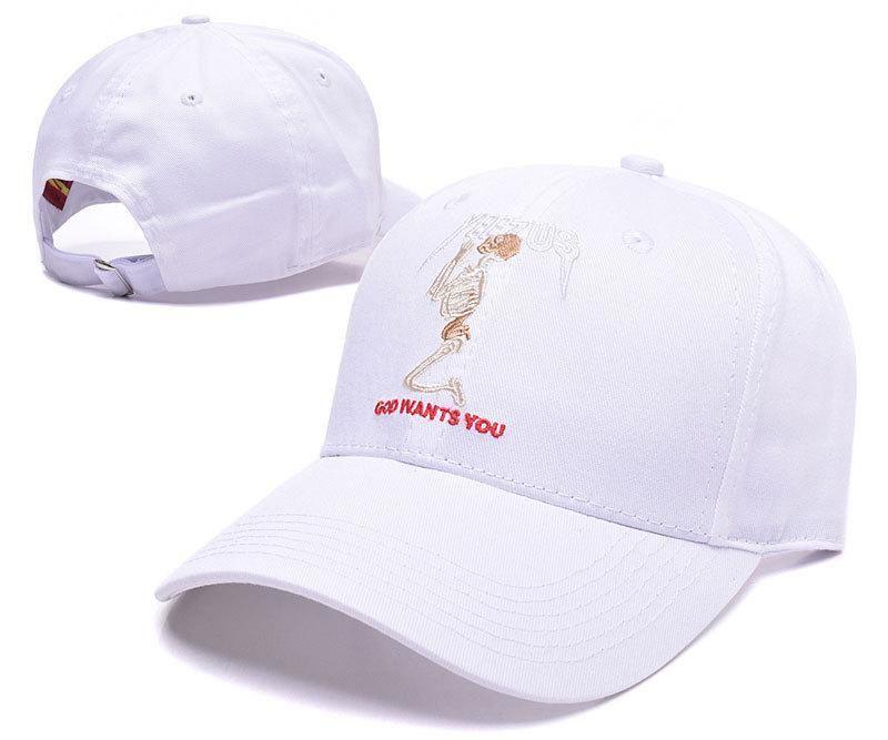 56e2798dc26 Men s   Women s Kanye West Yeezus Tour God Wants You Praying Skeleton  Adjustable Baseball Dad Hat - White