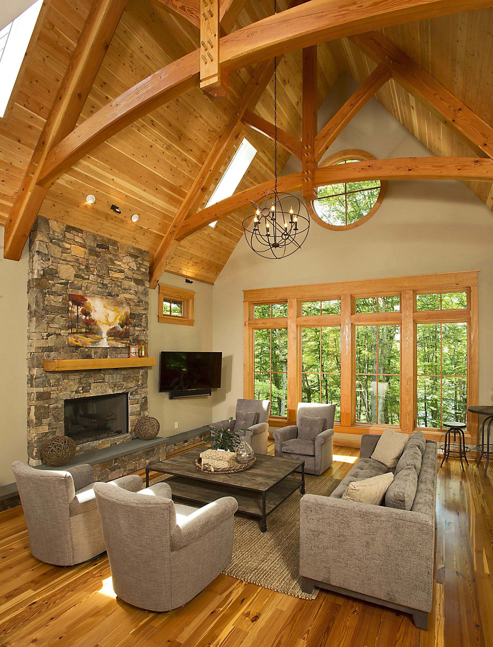 Timber frame timber frame home interiors new energy for Timber frame home interiors