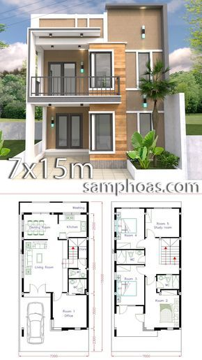 Home Design Plan 7x15m With 5 Bedrooms House Plan Map Duplex House Design Home Design Plan Model House Plan
