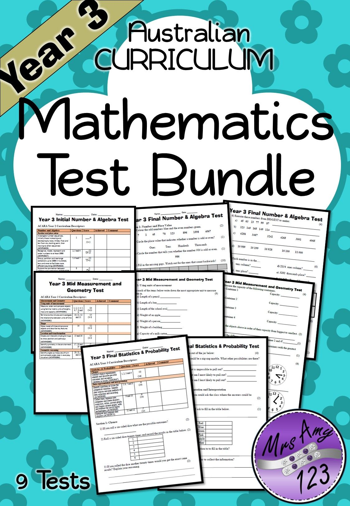 Mathematics Test Bundle School Pinterest