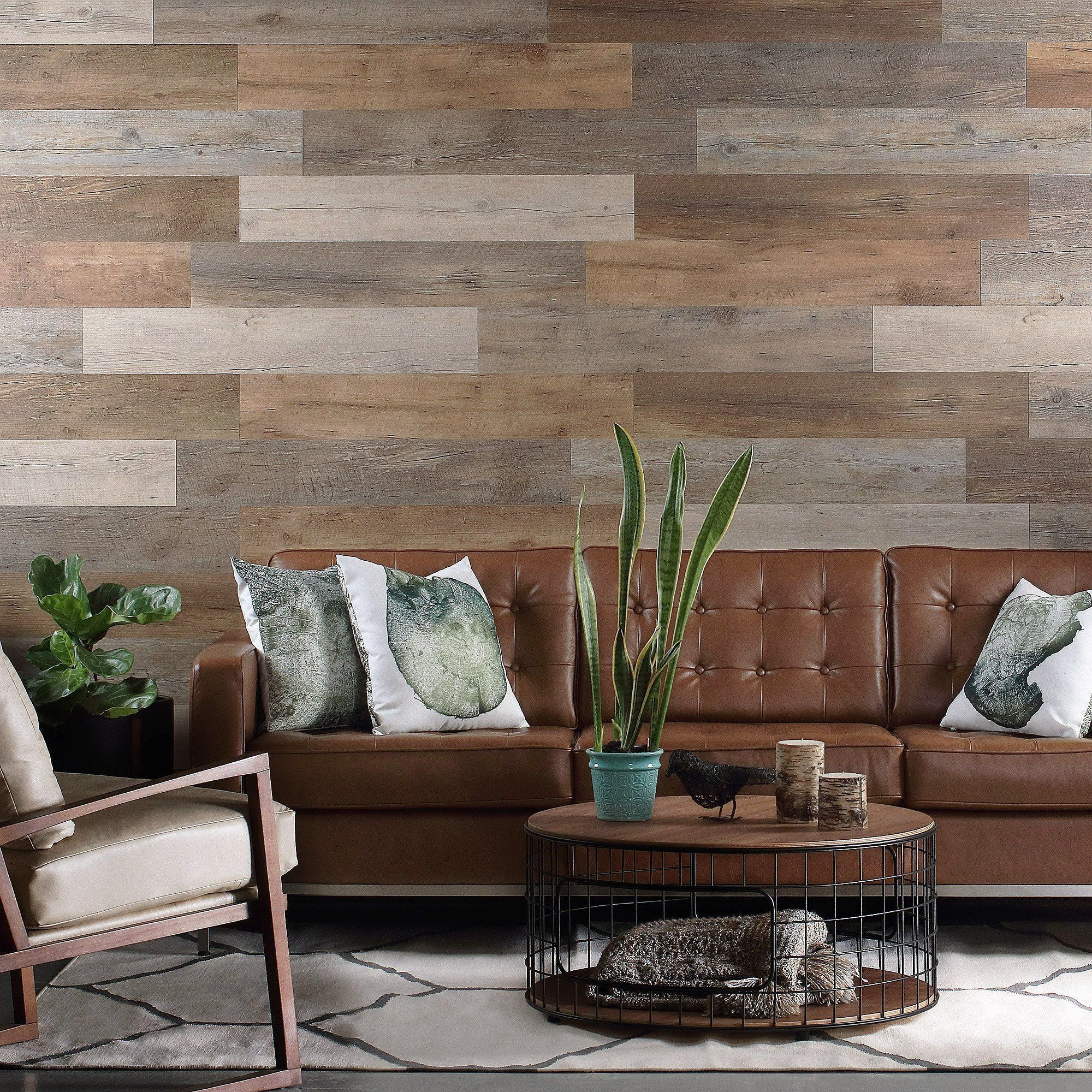 Salvaged Pallet Wood Look Peel and Stick Wall Planks